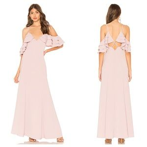 About Us Bell Ruffle Maxi Dress Gown Mauve Pink